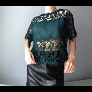 zara forest green lace mesh sheer top